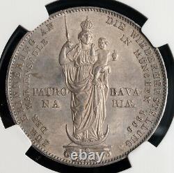 1855, Bavaria, Maximilian II. Silver 2 Gulden Marian Column Coin. NGC MS-64