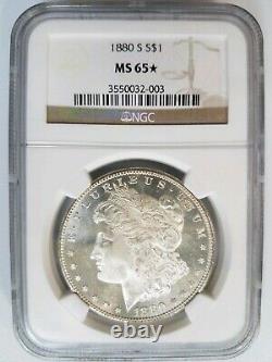 1880 S Silver Morgan Dollar NGC MS 65 Star Graded Coin