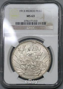 1913 NGC MS 63 Mexico Peso Mint State Cabalito Horse Silver Coin (18120601C)