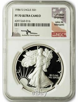 1986 S $1 Proof Silver Eagle NGC PF70 Ultra Cameo John Mercanti Signed