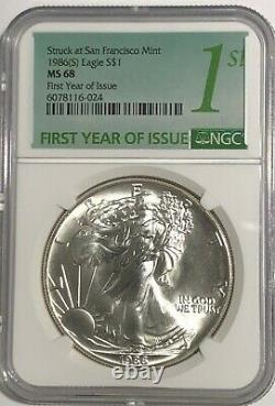 1986 (s) Ngc Ms68 $1 Silver Eagle 1 Oz First Year Issue Struck At San Francisco