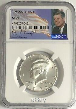1998 S Ngc Sp70 Silver Kennedy Matte Proof Finish Half Dollar Jfk Coin Sign 50c