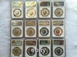 1999-2010 Australia Silver Lunar Complete Set 12 Coins 1oz Ngc-ms69 Rare