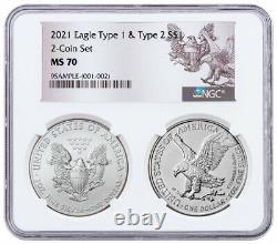 2 Coin Set 2021 American Silver Eagle Type 2 & Type 1 Type Set NGC MS70 PRESALE