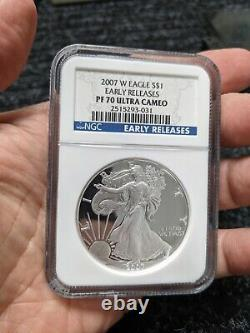 2007 W Proof American Silver Eagle. Early Releases, NGC PF70 Ultra Cameo
