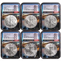 2011-2017 (S) $1 American Silver Eagle 6pc. Set NGC MS69 San Francisco Core