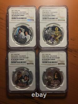 2011 NIUE Star Wars Silver Rebel Alliance 4-Coins Set NGC PF70 with OGP & COA