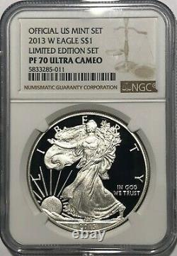 2013 W Ngc Pf70 Ultra Cameo Proof Silver American Eagle From Limited Edition Set