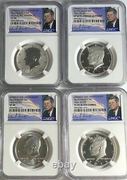 2014 P D S W 4 Coin Silver Kennedy Half Ngc Pf69 Sp69 Set 50th Anniversary Jfk