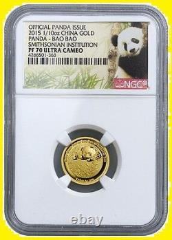 2015 China Smithsonian Gold&silver Panda 3 Coins Set Ngc Pf 70 Uc