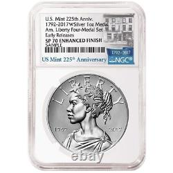 2017-W Enhanced 225th Ann. American Liberty Silver Medal 1oz NGC SP70 225th ER L