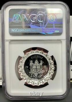 2018 Fiji Coca-Cola Bottle Cap 6g Silver Proof Coin NGC PF 70 UCAM In Tin