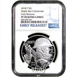 2018-P Proof $1 World War I Centennial Silver Dollar NGC PF70UC Blue ER Label