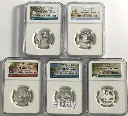 2018 S Proof Silver 5 Coin Quarter Set Ngc Pf70 Atb National Parks Ultra Cameo