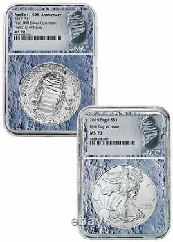 2019 Apollo 11 50th $1 Silver Eagle 2 Coin Set NGC MS70 FDI Moon Core SKU57917
