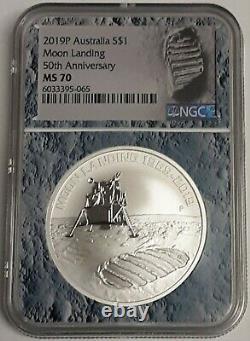 2019 Australia 1 Ounce Silver 50th Anniversary Eagle Landing on Moon $ NGC MS70