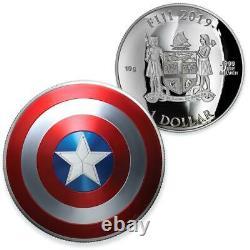2019 Fiji Marvel Captain America Shield 10g Silver Proof Coin NGC PF 70 UCAM