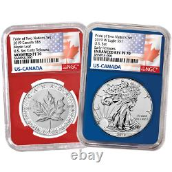 2019 Pride of Two Nations 2pc. Set U. S. Set NGC PF70 ER Flags Label Red Blue