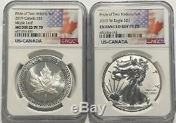 2019 W $1 & $5 Silver Reverse Proof Ngc Pf70 Pride Of Two Nations 2 Coin Set