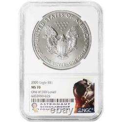2020 $1 American Silver Eagle NGC MS70 Jim Lovell Signature Label 1 of 500