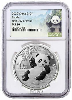 2020 China 30 g Silver Panda ¥10 Coin NGC MS70 FDI Panda Label SKU59835