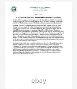 2020 (P) 1 oz Silver Eagle Emergency Production Philadelphia $1 Coin NGC MS70 ER