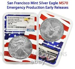 2020 (S) $1 American Silver Eagle NGC MS70 Emergency Early Releases Flag Core