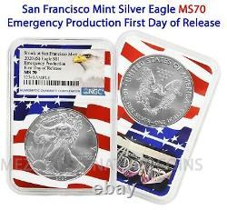 2020 (S) $1 American Silver Eagle NGC MS70 Emergency FDOR Flag Core