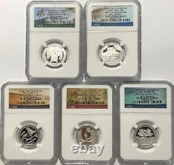 2020 S Proof Silver Quarter Set Ngc Pf70 Early Releases 5 Coin First Atb Parks