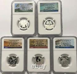 2020 S Proof Silver Quarter Set Ngc Pf70 First Releases 5 Coin First Atb Parks