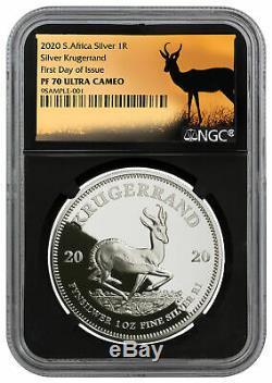 2020 South Africa 1 oz Silver Krugerrand Proof R1 NGC PF70 FDI SKU59913