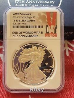 2020 W End World War II 2 75th American Silver Eagle V75 NGC PF70 70 Pre Ord
