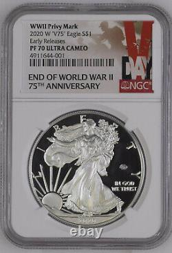 2020 W End of WWII 75th Anniversary American Silver Eagle V75 NGC PF70 PRE-SALE