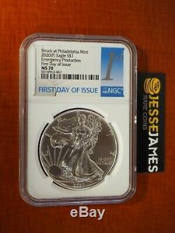2020 (p) Silver Eagle Ngc Ms70 Emergency Issue Struck At Philadelphia Fdi 1st