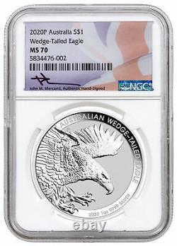 2020P Australia 1oz Silver Wedge-Tailed Eagle $1 Coin NGC MS70 Mercanti SKU60719