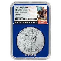 2021 $1 American Silver Eagle 3pc. Set NGC MS69 Black ER Label Red White Blue
