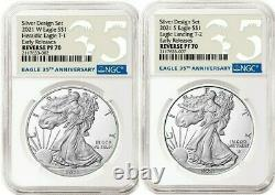 2021 ASE One Ounce Reverse Proof Two-Coin Set Designer Edition NGC PF70- PRESALE