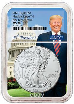 2021 American Silver Eagle T-1 NGC MS70 First Day Issue Trump Core Trump PRESALE