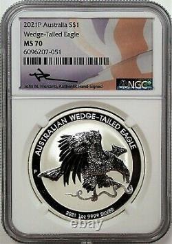 2021 P $1 Australia 1oz Silver Wedge Tailed Eagle NGC MS70 Mercanti Signature