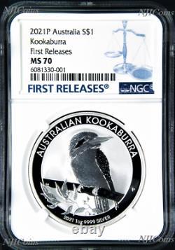 2021 P Australia Silver Kookaburra NGC MS 70 $1 1 oz Coin FR BLUE Label PERFECT
