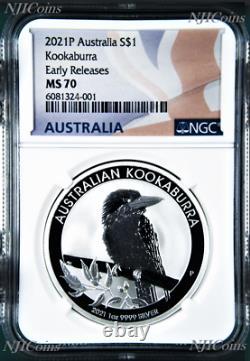 2021 P Australia Silver Kookaburra NGC MS 70 $1 1 oz Coin Flag ER Label PERFECT