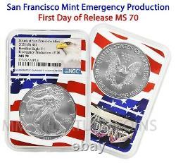 2021 (S) $1 American Silver Eagle NGC MS70 Emergency FDOR Flag Core Live SF mint