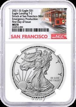 2021 (S) $1 Silver Eagle Type 2 Struck at San Francisco Emergency NGC MS70 FDOI