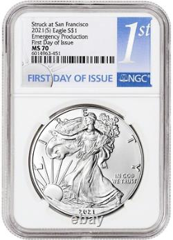 2021 (S) Silver Eagle NGC MS70 First Day of Issue Emergency Production