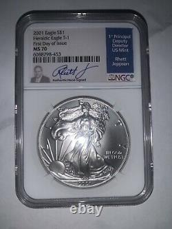 2021 Silver Eagle Business Strike Type 1 NGC MS70 FDOI Jepson Signed! 1st D Issu