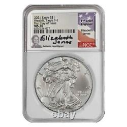 2021 Silver Eagle Ngc Ms70 Elizabeth Jones Signed First Day Of Issue Fdi Type 1