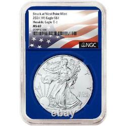 2021 (W) $1 American Silver Eagle 3 pc. Set NGC MS69 Flag Label Red White Blue