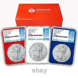 2021 (W) $1 American Silver Eagle 3pc. Set NGC MS70 FDI First Label Red White Bl