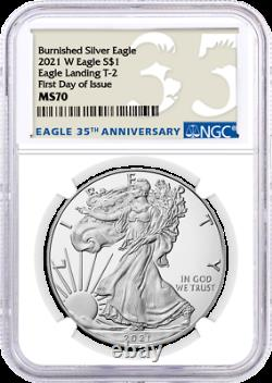 2021 W $1 Burnished Silver Eagle Type 2 NGC MS70 First Day of Issue