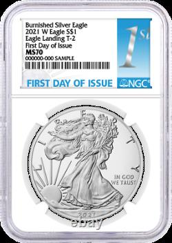 2021 W $1 Burnished Silver Eagle Type 2 NGC MS70 First Day of Issue 1st Label
